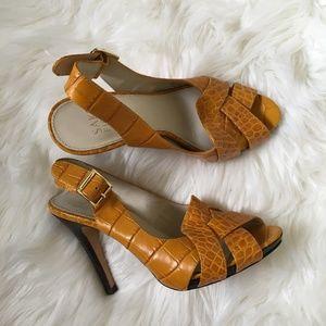 saks fifth avenue yellow croc peep toe slingbacks